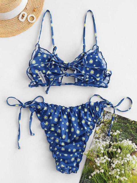ZAFUL Kopfsalat Trim Gänseblümchendruck Schnur Bikini Badebekleidung - Ozeanblau S Mobile