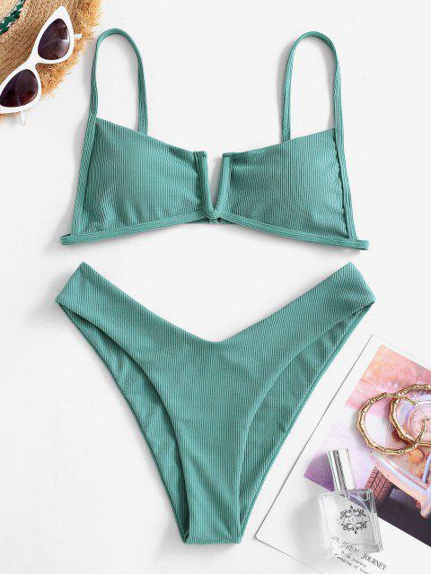 affordable ZAFUL V-wired Ribbed High Cut Bikini Swimwear - PEACOCK BLUE M Mobile