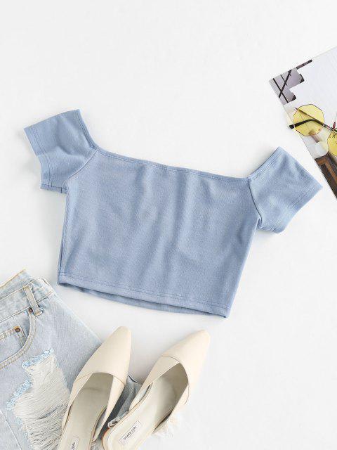ZAFUL T-shirt de Base Court Simple - Bleu Koi L Mobile