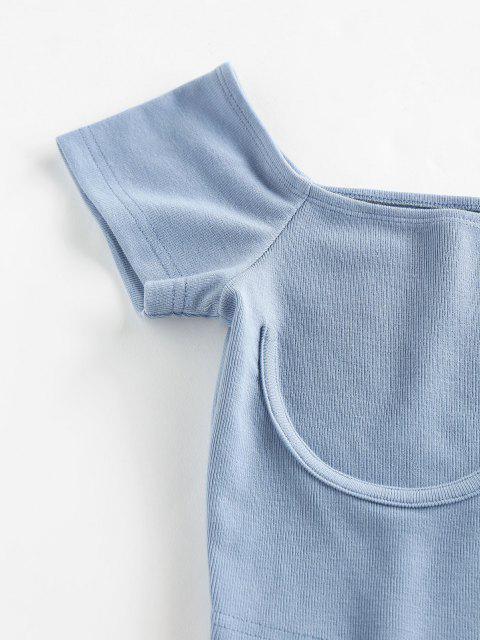 T-Shirt Corta Basic di ZAFUL - Blu Koi M Mobile