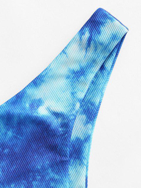 shop ZAFUL Tie Dye Ribbed High Leg Bikini Bottom - BLUEBERRY BLUE M Mobile