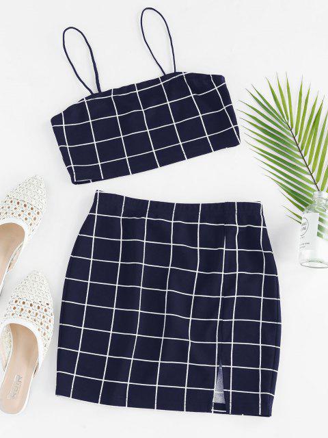 buy ZAFUL Grid Slit Cami Mini Skirt Set - DEEP BLUE M Mobile