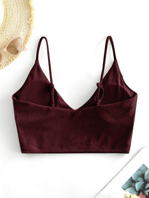 shop ZAFUL Ribbed Cropped Bikini Top - DEEP RED S Mobile