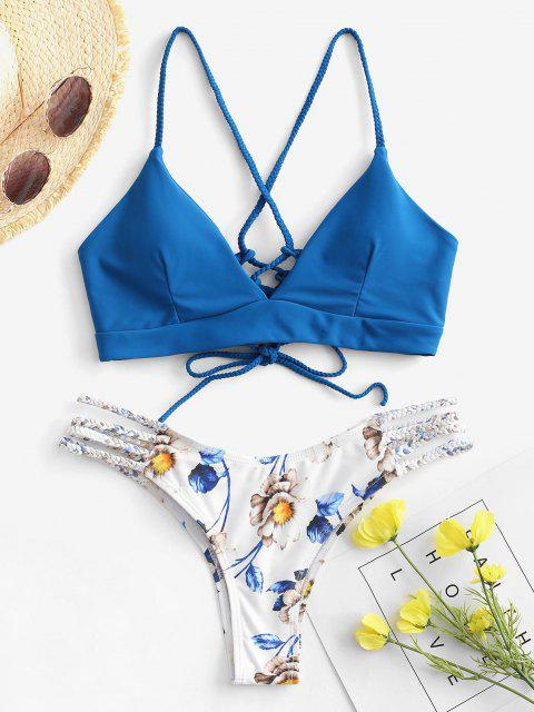 ladies ZAFUL Lace-Up Braided Flower Bikini Set - OCEAN BLUE S Mobile