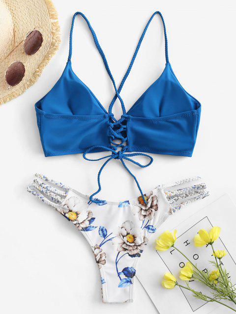 Conjunto de Bikini con Cordones de Flores Trenzada ZAFUL - Azul Océano  S Mobile