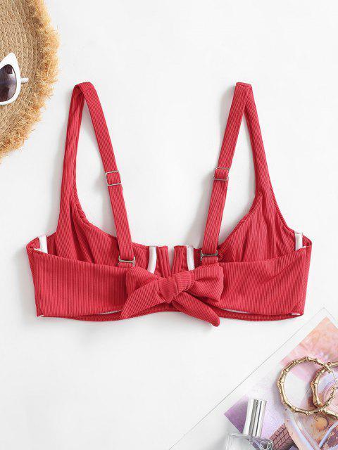 fashion ZAFUL Ribbed Smocked V Wired Bikini Top - LAVA RED S Mobile