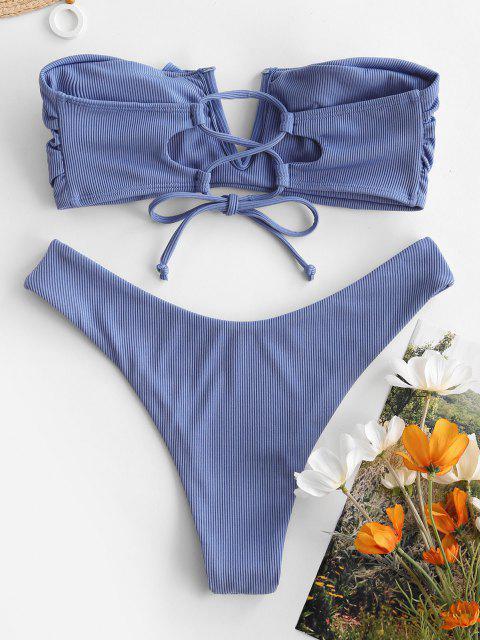 ZAFUL Maillot de Bain Bikini Bandeau Côtelé à Armature en V à Volants - Bleu Koi L Mobile