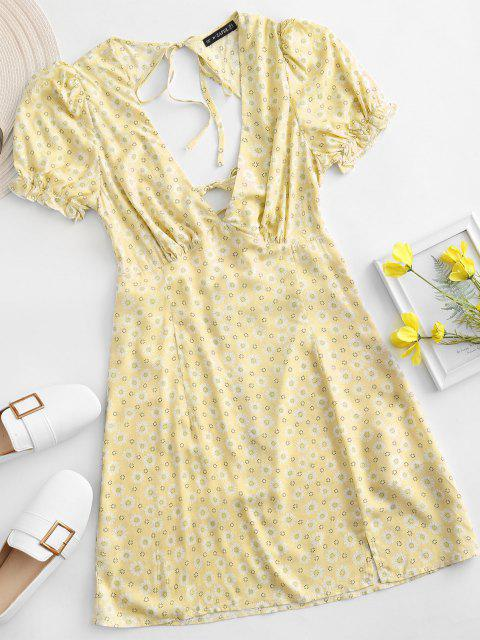 new ZAFUL Ditsy Floral Low Cut Tie Cutout Slit Dress - YELLOW M Mobile