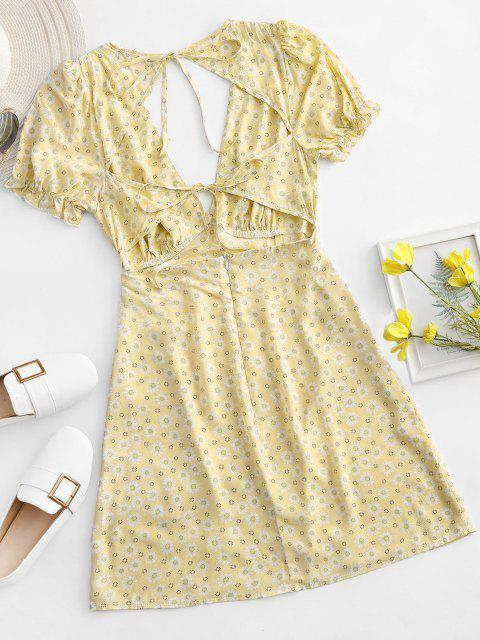 online ZAFUL Ditsy Floral Low Cut Tie Cutout Slit Dress - YELLOW S Mobile