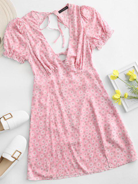 outfits ZAFUL Ditsy Floral Low Cut Tie Cutout Slit Dress - LIGHT PINK L Mobile