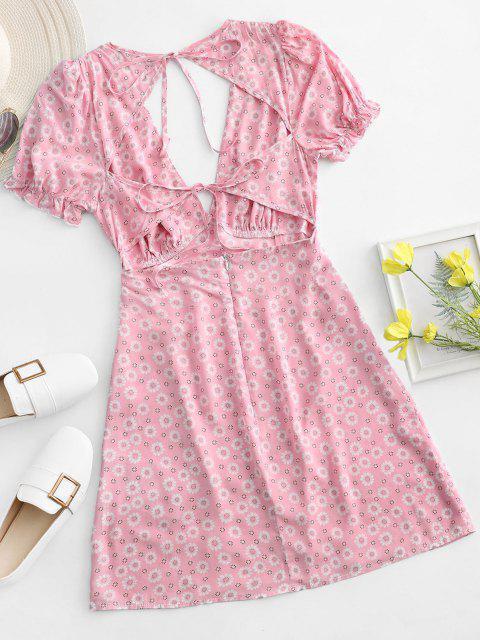 shop ZAFUL Ditsy Floral Low Cut Tie Cutout Slit Dress - LIGHT PINK M Mobile
