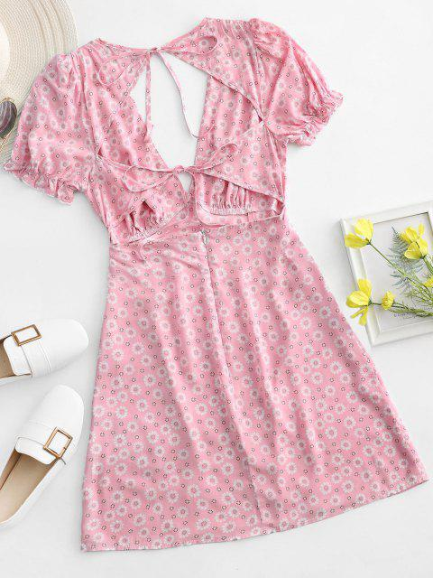 outfit ZAFUL Ditsy Floral Low Cut Tie Cutout Slit Dress - LIGHT PINK S Mobile