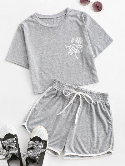 Rose Print Contrast Trims Two Piece Set - Gray S