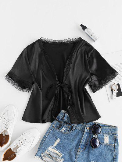 ZAFUL Eyelash Lace Front Tie Satin Blouse - Black L