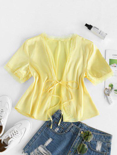 ZAFUL Eyelash Lace Front Tie Satin Blouse - Corn Yellow M