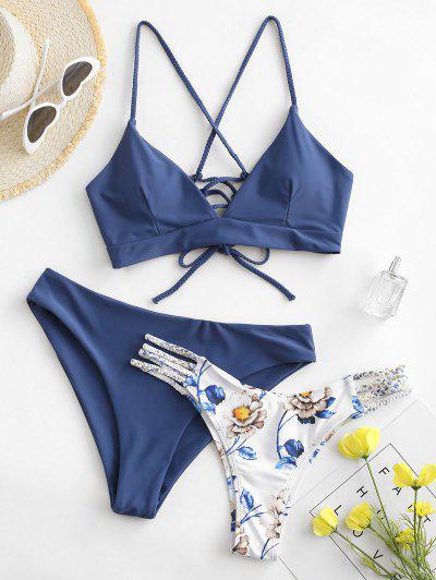 ZAFUL Flower Braided Lace Up Three Pieces Bikini Swimsuit - Blue Koi M