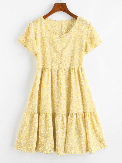 Button Loop Spotted Printed Mini Dress - Yellow S