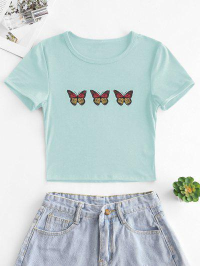 Butterfly Print Short Sleeve Crop T-shirt - Light Green M