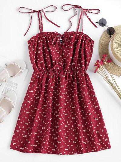 ZAFUL Gebundenes Ditsydruck Sommerkleid - Rot M