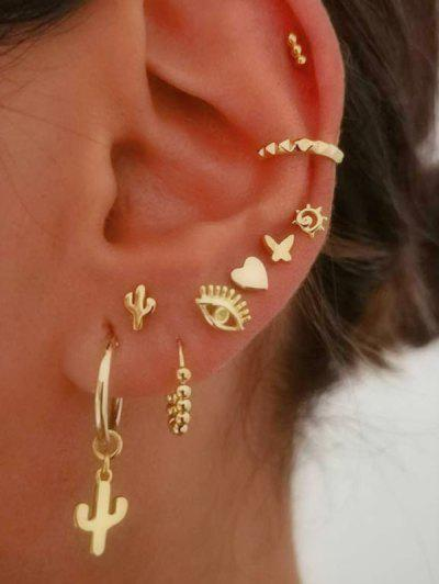 Evil Eye Cactus Butterfly Stud And Ear Cuff Earring Set - Gold
