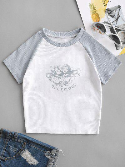 Ribbed Rock More Graphic Baseball Tee - White S