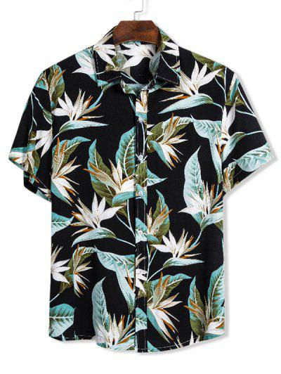 Chemise Hawaïenne Maigre Fleur Imprimée Boutonnée - Noir Xl