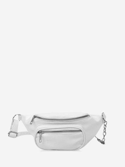 Pure Color Zip Pockets Chest Bag - White