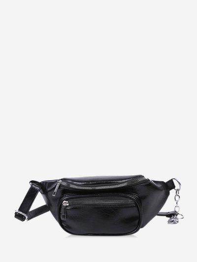 Pure Color Zip Pockets Chest Bag - Black
