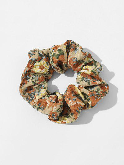 Ditsy Floral Fabric Elastic Scrunchie - Deep Yellow
