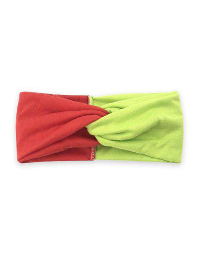 Banda De Pelo Ancha Con Color Bloque - Amarillo Rojo Amarillo