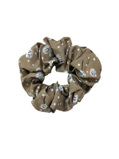 Floral Dot Print Seamless Fabric Scrunchy - Light Khaki