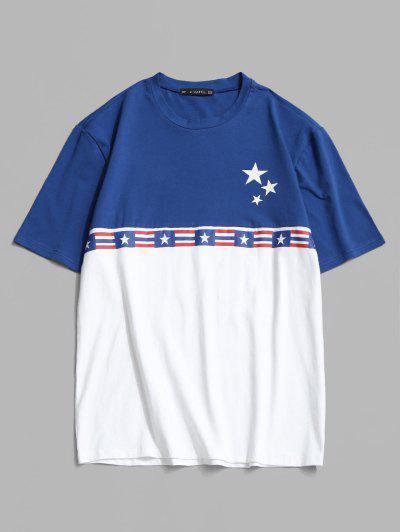 T-shirt En Blocs De Couleurs Drapeau Américain - Blanc Xl