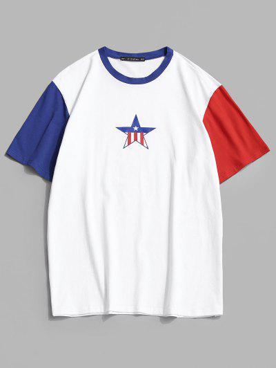 Gestreiftes Farbblock T-Shirt Mit Stern - Weiß S