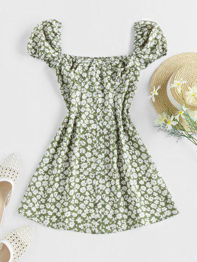 ZAFUL Ditsy Print Mock Button Puff Sleeve Dress - Green L