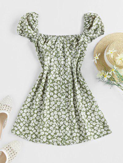 ZAFUL Ditsy Print Mock Button Puff Sleeve Dress - Green M