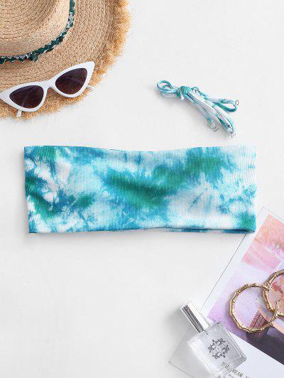 ZAFUL Ribbed Tie Dye Padded Bikini Top - Greenish Blue S