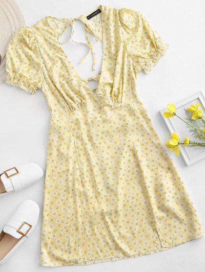 ZAFUL Ditsy Floral Low Cut Tie Cutout Slit Dress - Yellow Xl