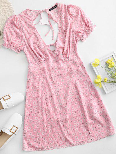ZAFUL Ditsy Floral Low Cut Tie Cutout Slit Dress - Light Pink L
