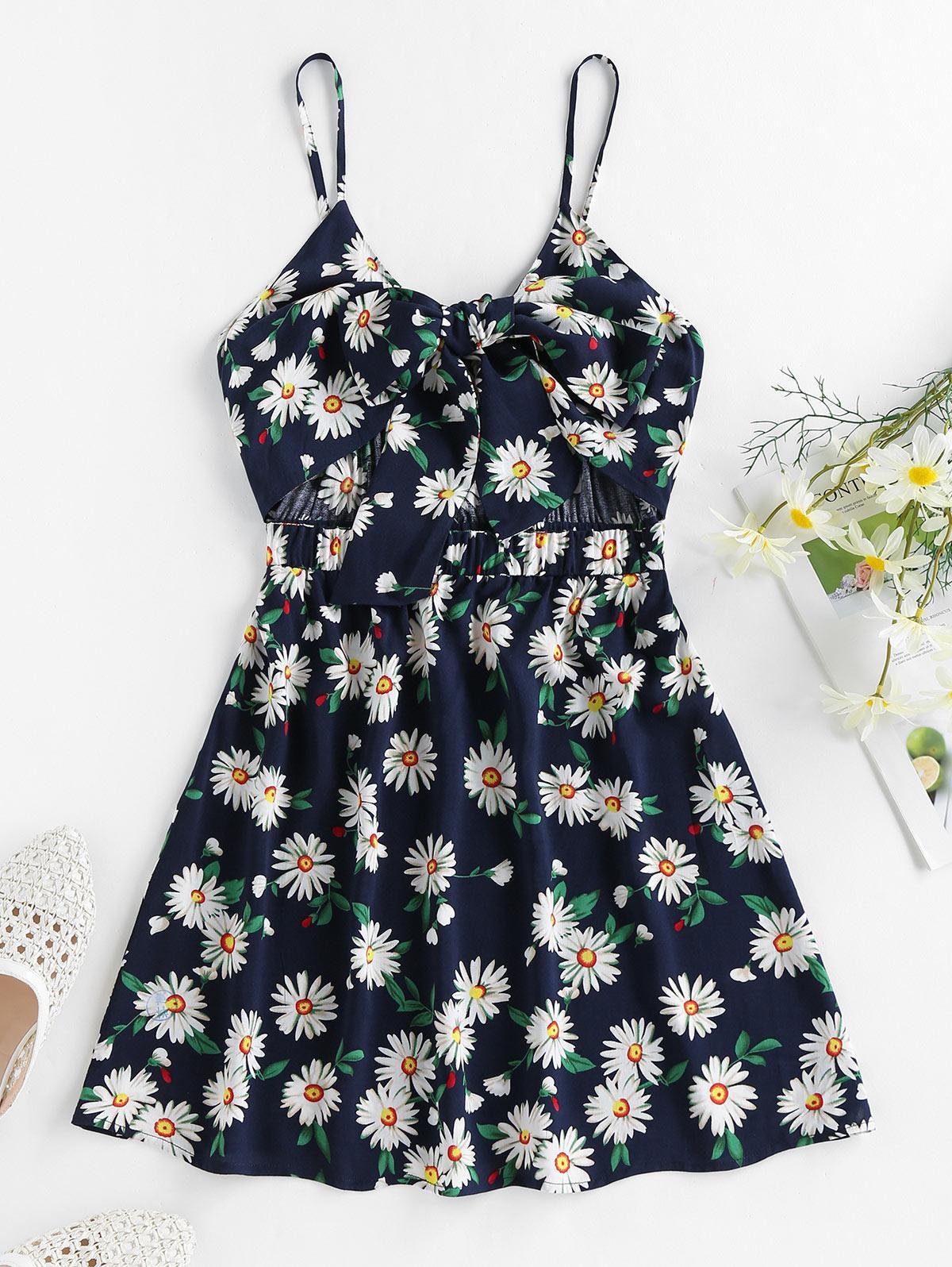ZAFUL Daisy Print Bowknot Cutout Mini Dress