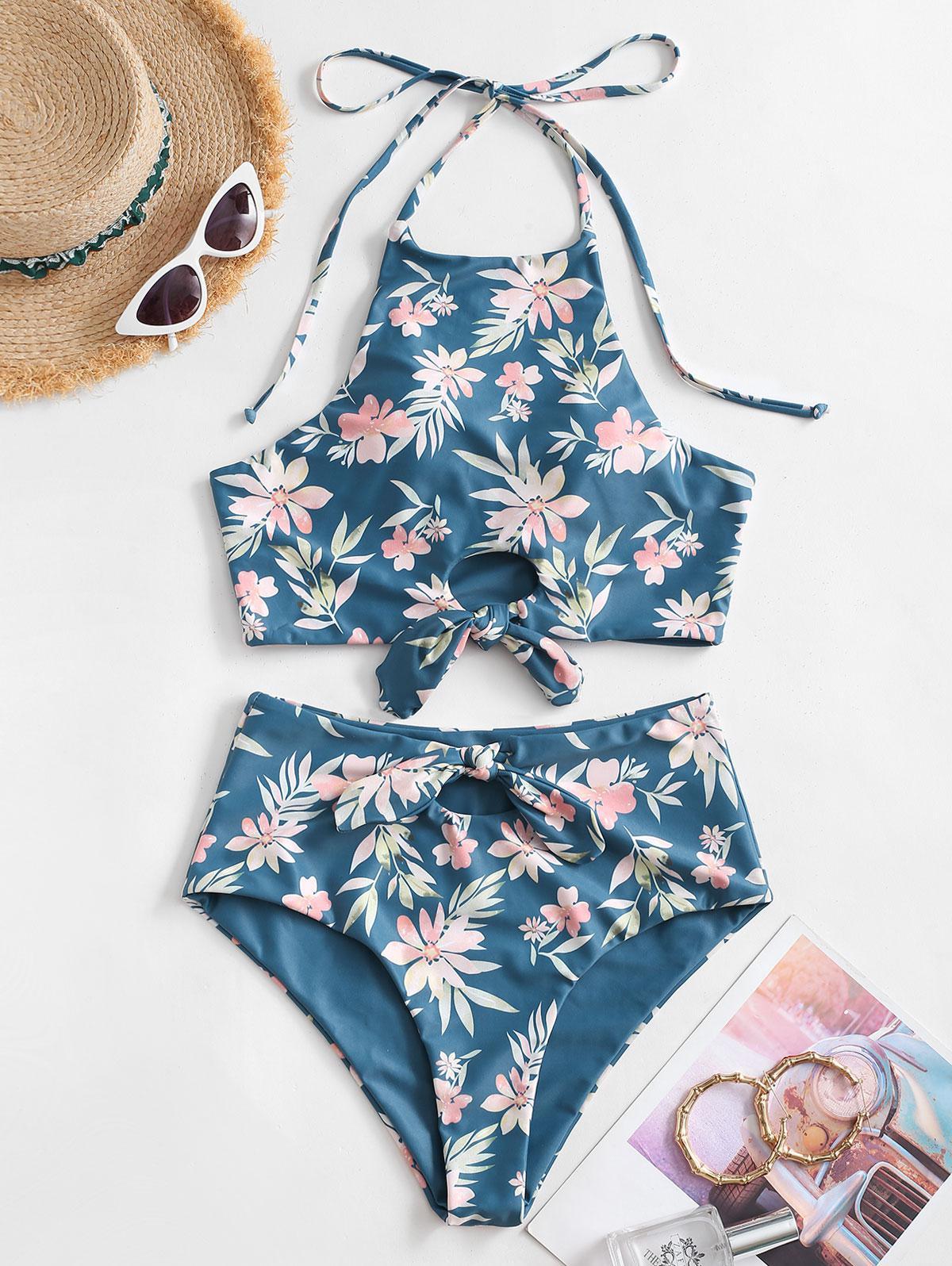 zaful Floral Print Halter Tied Tankini Swimwear