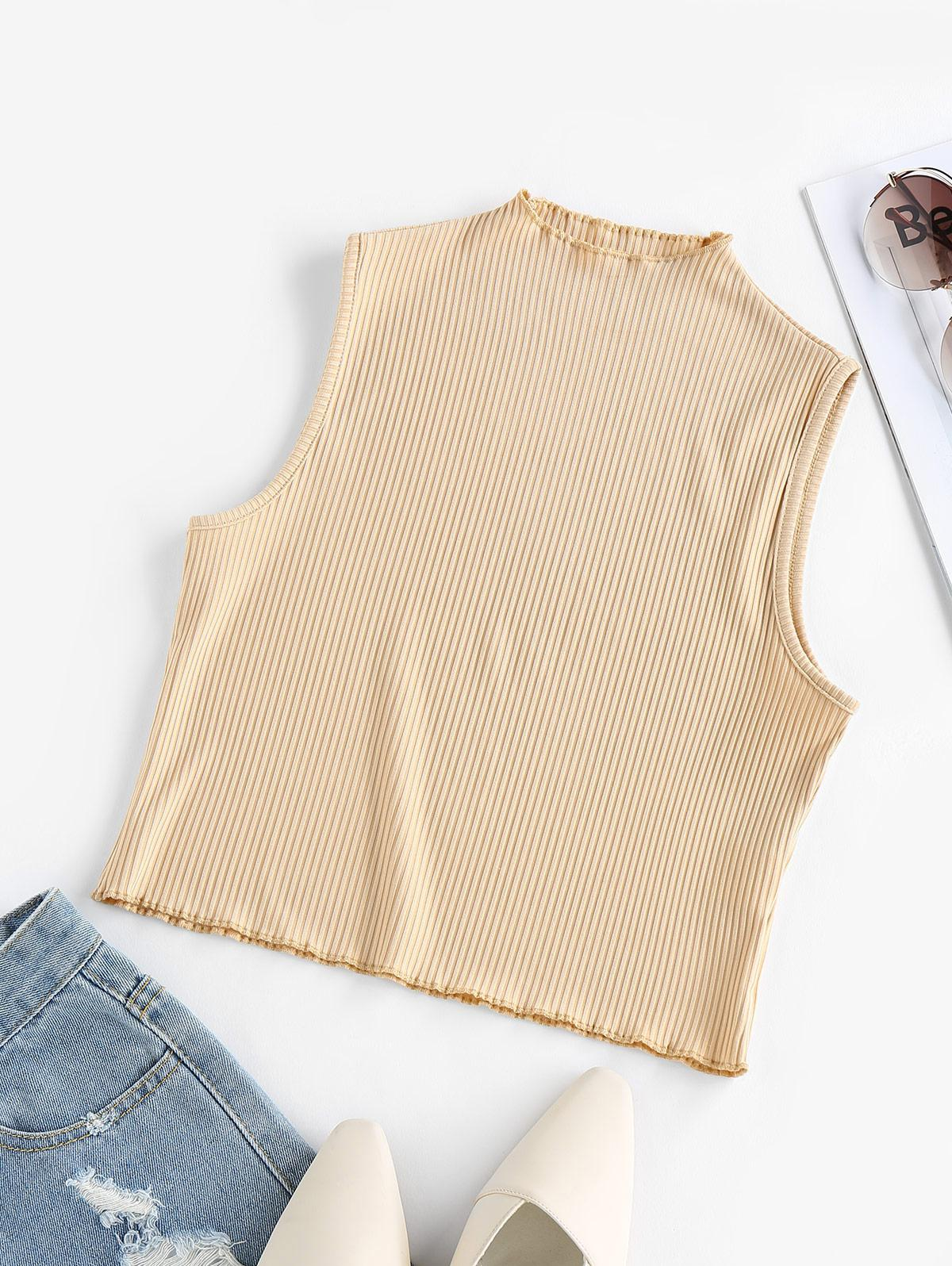 ZAFUL Ribbed Mock Neck Fitted Tank Top