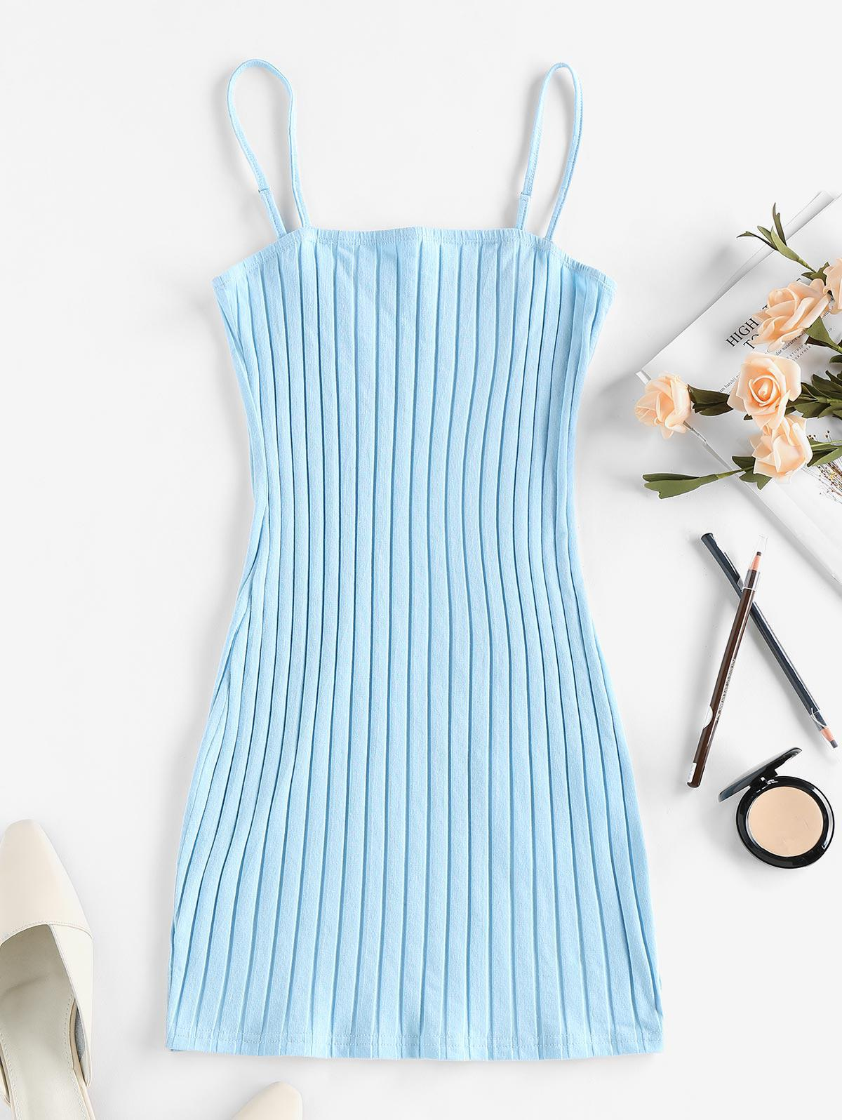 ZAFUL Ribbed Open Back Bodycon Dress