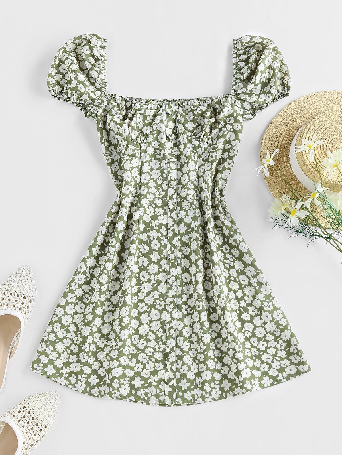 ZAFUL Ditsy Print Mock Button Puff Sleeve Dress
