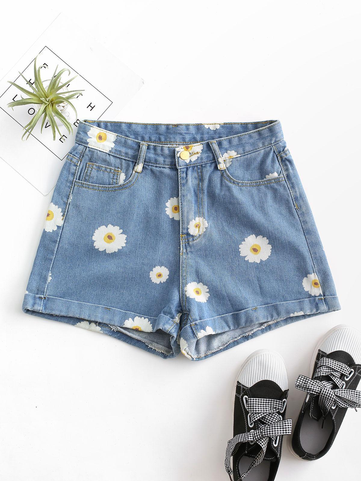 Cuffed Hem Daisy Print Denim Shorts