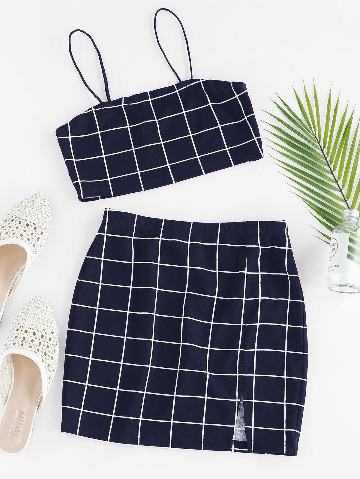 ZAFUL Grid Slit Cami Mini Skirt Set