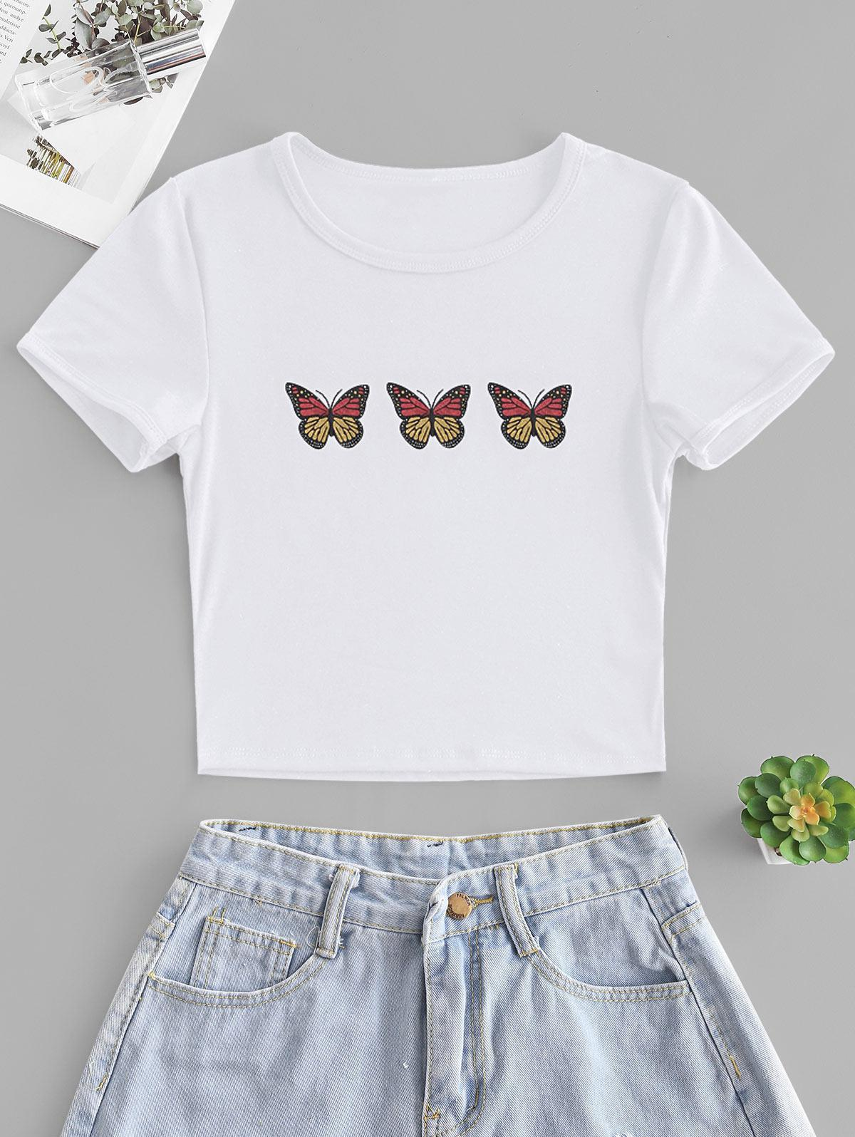 Butterfly Print Short Sleeve Crop T-shirt