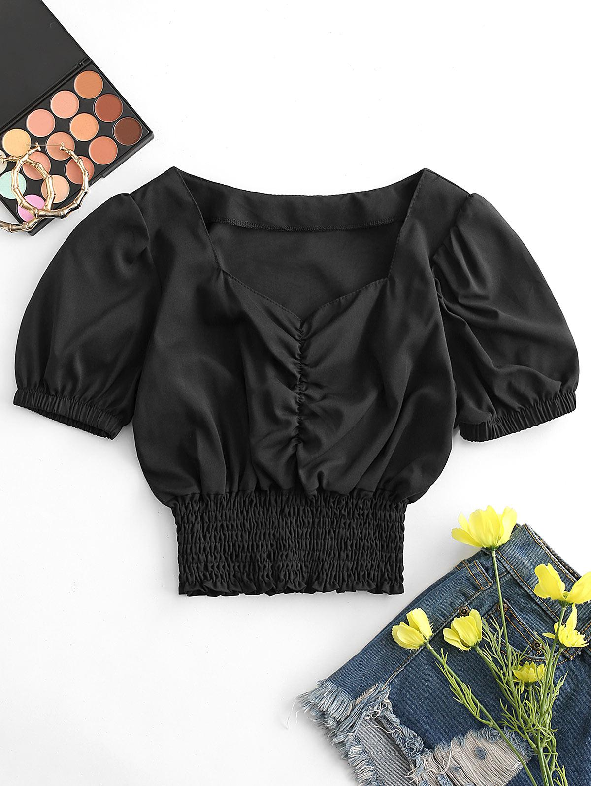 Gathered Front Smocked Waist Sweetheart Top