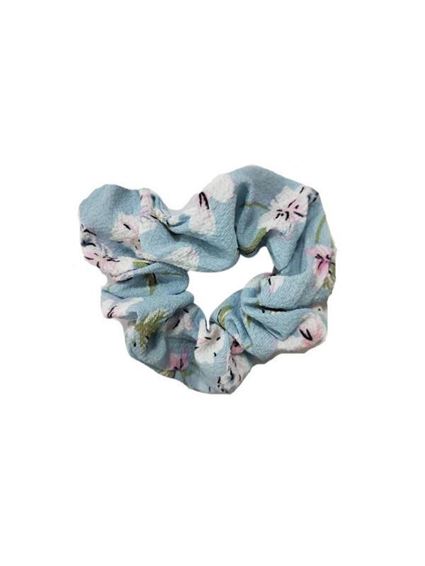 Flower Print Holiday Stretch Fabric Scrunchy