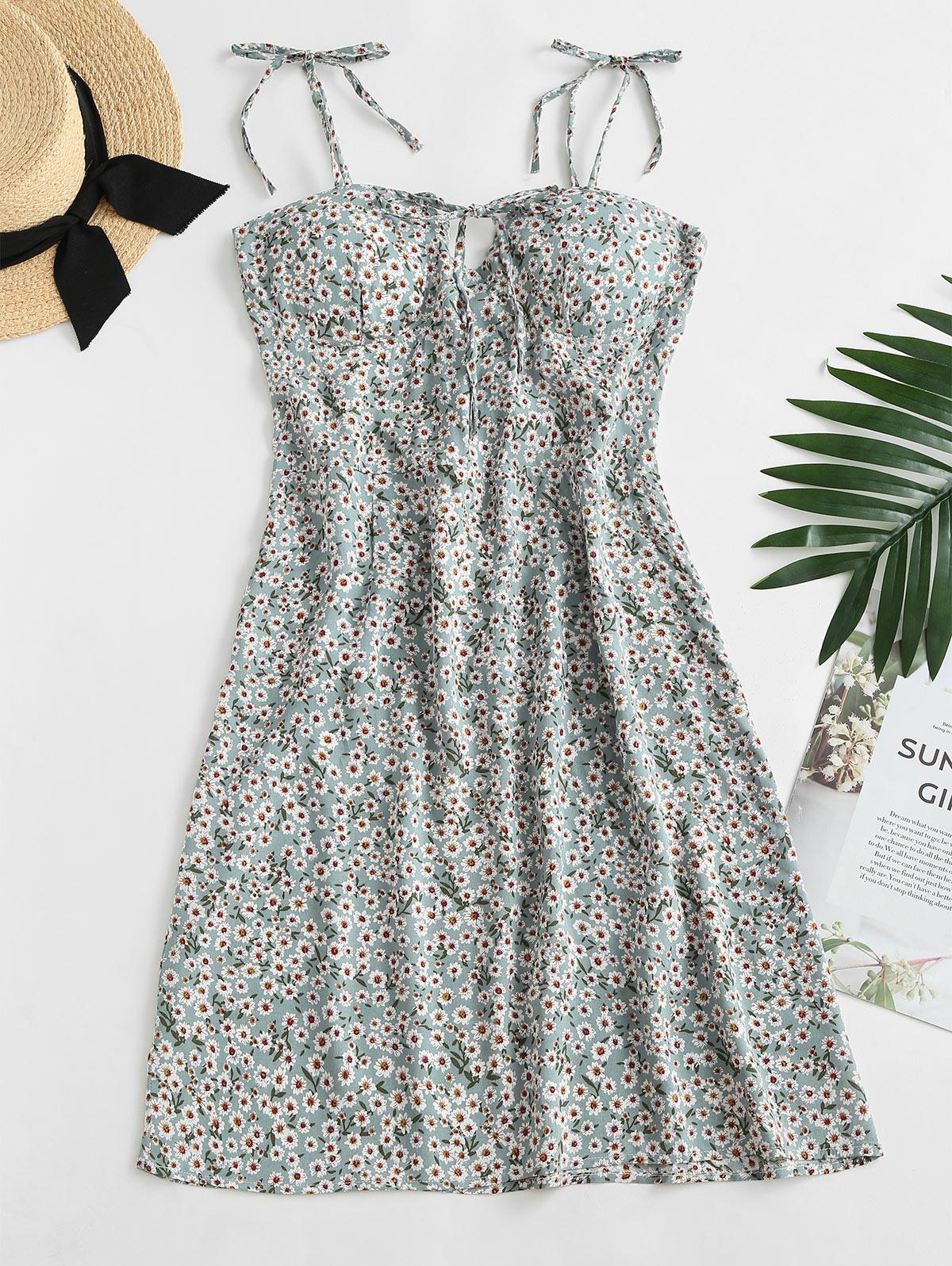 Ditsy Print Tie Shoulder Bowknot Mini Dress