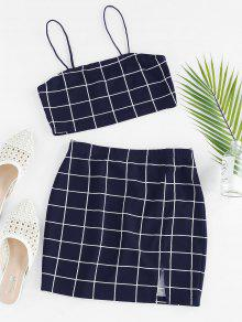 Grid Slit Skirt Set